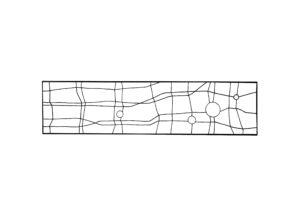 maquette d'un vitrail quadrillage lignes brisées et 4 cercles